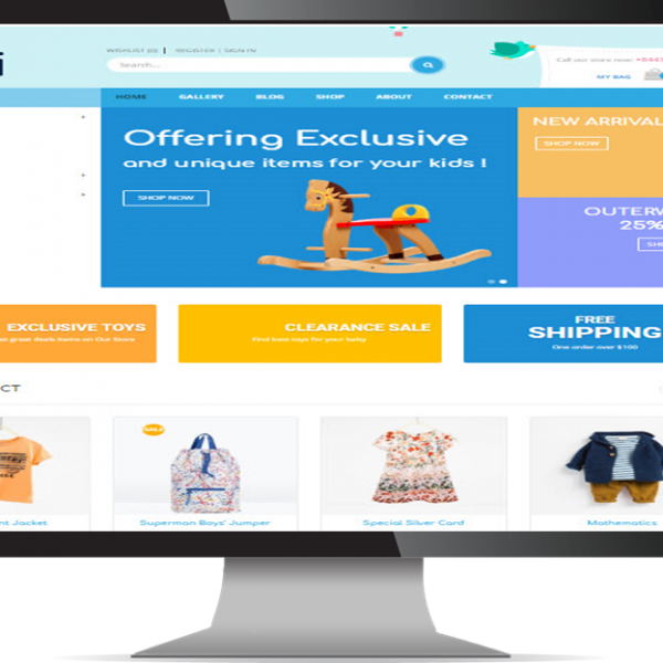 CMS Website Design & Development Portfolio For Kid Shop bekidi 600x600